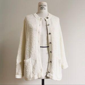 Vintage Ivory Bouclé Knit Cardigan Sweater